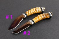 Wholesale Top Quality Knife Damascus - Top Quality Damascus Hunting Knife Outdoor Camping Hiking Survival Straight Knives With Leather Sheath and Retail Box 2 Style