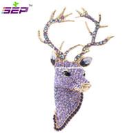 Wholesale Reindeer Brooch - Rhinestone Reindeer Deer Head Brooch Pins Free shipping Christmas Brooches Women Jewelry Accessories FA3181