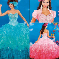 Wholesale Triangle Multi Color Beads - Multi Color 2017 Quinceanera Dresses Rhinestones Puffy Skirts Sweet 16 Gowns For 15 Years Princess Styles Vestidos De 15 Anos