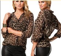 kahverengi uzun kollu gömlek kadın toptan satış-2017 Seksi Kadınlar Şifon Gömlek Leopar Baskı Yarı şeffaf Bluz Uzun Kollu Gevşek Casual En Kahverengi