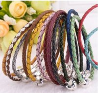 Wholesale Murano Glass Pendants Snake - Hot 925 Sterlng Silver Genuine leather Bracelet For Murano Glass European Silver Charms Beads Pendants Fits Charm Bracelets & Necklace Diy