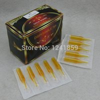 Wholesale Disposable Magnum - Wholesale-500pcs U Pick Size Yellow Tattoo Tips Gold Shark Disposable Tattoo Tip Nozzle Round Flat Magnum Supply GSDT-500#