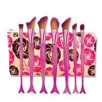 saco de pesca grátis venda por atacado-Sereia Pincéis de Maquiagem Profissional Cauda de Peixe Em Pó Escova Sereia Lidar Com Maquiagem Fundação Pincel de Cosméticos Kit Set com Saco DHL Livre