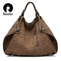 Wholesale Extra Large Hobo Bag - Wholesale- REALER brand casual women tote bag female extra large capacity handbag new design knitted linen bag ladies crossbody bags
