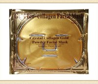 biyolojik nemlendirici kollajen maske toptan satış-100 ADET Altın Bio-Kolajen Yüz Maskesi Kristal Altın Tozu Kollajen Yüz Maskesi Nemlendirici Anti-aging Yüz Maskeleri Güzellik Ürünleri