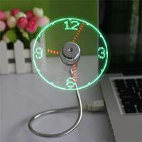 Wholesale Usb Desk Fans - Creative Adjustable Mini Flexible USB Fans With LED Time Clock Fan LED Light USB Fans Flexible Office Desk Gadget
