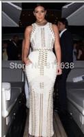 long perlé achat en gros de-Vente en gros- 2017 femmes d'été Sexy Bodycon noir blanc sans manches cloutés perlé long maxi de rayonne Robe Bandage Celebrity kim kardashian