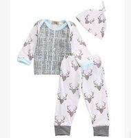 Wholesale Boys Christmas Outfit 24 Months - baby boy clothes Christmas Outfits Toddler 3pcs Suits Autumn Long Sleeve Cotton Tops+Deer Long Pants Infant Clothing Sets 7477