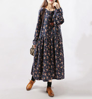 Wholesale Long Linen Dresses - 2017 New Style Autumn Winter Women Dresses Vintage Print Casual Long Sleeve Cotton Linen Maxi Dress Swing Floral Big Size Dress