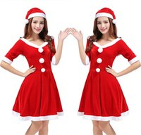 Wholesale Sexy Female Santa Costumes - Santa Costume Dress Christmas Clothing Female Adult Halloween Role Playing The Uniform Suits Sexy Fancy Dress