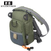 Wholesale Flying Fisherman - KyleBooker Fly Fishing Chest Waist Pack Lightweight Comfortable Adjustable Compact Bag for Fishermen 2 Layers Army Green