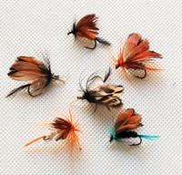 ingrosso ganci per insetti-12pcs di richiamo di pesca esche insetto bionico mosche farfalle mosche di pesca a mosca esche artificiali attrezzi da pesca leurre peche ganci di pesca