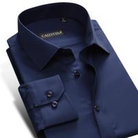 официальная одежда мужчины длинный рукав оптовых-Wholesale- CAIZIYIJIA 2017 Men's Dark-blue Dress Shirt Long-sleeve Slim-Fit Business Office Wear Wrinkle-Free Plain Solid Formal Shirts