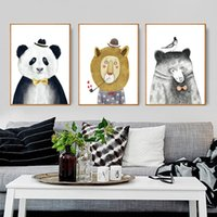 3 PCS Triptych Watercolor Nordic Animal Lion Bear Panda Art Prints Poster Hipster Wall Picture Canvas Painting Kids Room Home Decor