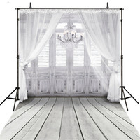 Children,Baby spray photography - Vinyl Fabric Indoor Chandelier Backdrop White Grey Wood Door Floor Photography Background Soft Curtain Baby Shower Newborn Shoot Props