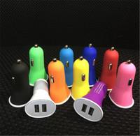 carregador de cor usb micro venda por atacado-Porta Dual USB Carregadores de Carregador de Carro Micro Auto Trumpet Adaptador De Energia Portátil para iphone6 4S 5S ipad Samsung HTC Multi Cor