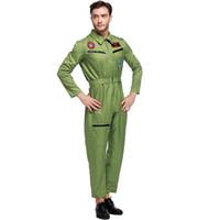 Wholesale Mans Police Costume - Men Uniform The Pilot Uniform Temptation Role Play Suit Men Wear Trainers Army Green Suit Spandex