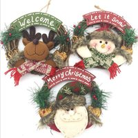 Wholesale Christmas Wreath Decorations Wholesale - Christmas Wreath Decor For Xmas Party Door Wall Hanging Garland Ornament Merry Christmas Party Garland LJJK799