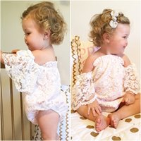 Wholesale Girls Lace Collar - Mikrdoo Casual White Girl's Rompers Summer Infant Baby Girl Flower Lace Butterfly Sleeves Romper Sweet Outfit Princess Clothes