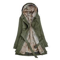 Wholesale Trench Coat Warm Liner - Wholesale- New Winter Women Coat Faux Fur Female Coats Black Beige Army Green Overcoat Warm Thicken Detachable Inner Trench Plus Size
