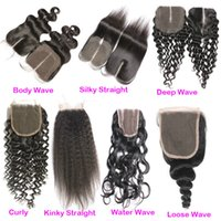 Wholesale Kinky Hair Sale - Fast Delivery Curly Body Deep Water Kinky Silk Straight Closure Cheap Malaysian Loose Wave Human Hair Top Lace Closures Piece For Sales