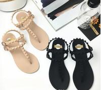 Wholesale Trendy Rubber Sandals - New trendy sandal flat base concise style Shoes women's Flip flops sandals rivet Rome Sandal students fashion T shoes
