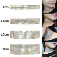 Wholesale Unique Crystal Rounding - Sexy Jewelry Accessories for Women Collar Nacklace Sparkle Rhinestone Unique Bridal Jewelry Bling Crystal Nacklaces for Prom Party Wear