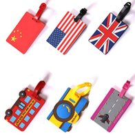 Wholesale Plastic Luggage Labels - 10pcs Lot China Flag Prints Luggage Tag Cartoon Bus And Camera Printing Flag Sort Luggage Name And Phone Number Label Travel Accessories