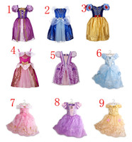 Wholesale Short Sleeve Summer - 9color Beauty and the beast belle princess dress girl purple rapunzel dress Sleeping beauty princess aurora flare sleeve dress