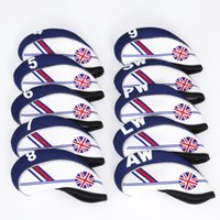 Housses En Fer Blanc Pas Cher-Golf Club Iron Head Cover Set 10pcs Neoprene White Avec Blue Britain Flag Headcovers Taille unique Tous les fers Accessoires extérieurs