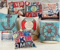 Wholesale Boat Throw Cushions - Wholesale- new Sea Solider Blue Helm Cushions Cover Anchor Boat ocean Marine Linen Throw Pillows Case 45x45cm Home Decorative Pillowcase