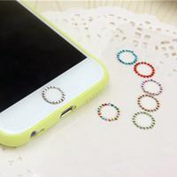 ingrosso autoadesivo del diamante della mela-Autoadesivo del tasto della casa di identificazione di tocco di cristallo di Bling Bling per il iPhone 5 5S 6 6S più 7 7Plus con l'identificazione del supporto dell'impronta digitale