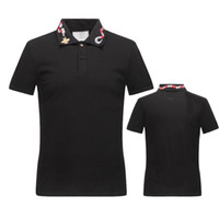 Wholesale Mens Fashion V Necks - New Luxury Brand embroidery t shirts for men Italy Fashion poloshirt shirt men High street Snake Little Bee Tiger print mens polo shirt