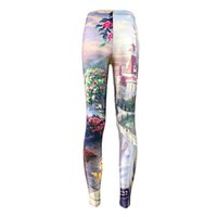 Wholesale Girls Capri Tights - 2017 new Beauty and the Beast Leggings Jogging Elastic Capri Pants Tight Summer Yoga Trousers