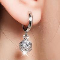 Wholesale Earring Allergy - S925 Sterling Silver Diamond Earrings Do not fade Prevent allergy Green earrings The pendants Headwear