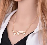 welt halskette gold großhandel-Neue Mode Gold Farbe Weltkarte Anhänger Halskette Für Frauen Edlen Schmuck GG01