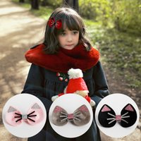 Wholesale Cat Hair Ribbon - 12Pcs Lot Baby Girls Cute Felt Cat Boutique Hair Clip Hairpin Baby Hair Accessories 2017 Fashion Brand New Barrettes Beautiful HuiLin B11