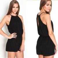 Wholesale Overall Ladies - Women Playsuit Rompers Overalls Sexy Casual Sleeveless Halter Keyhole Jumpsuit One-piece Ladies Playsuits Bodycon Party Black Trousers Pants