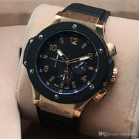 Wholesale Big Bang Mens Watch - High Quality Men Watch All Subdials Work Mechanical Automatic Wristwatches Luxury Watches Top Brand Rubber Strap Big Bang Gift for mens