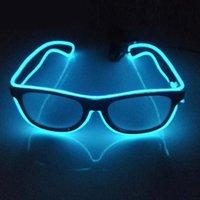 neonlicht dekor großhandel-10 Farbe LED Party Beleuchtung Gläser, Mode EL zweifarbige leuchtende Gläser Weihnachten Geburtstag Halloween Neon Party Kostüm Dekor