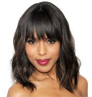 perruques ondulées pour les femmes noires achat en gros de-Perruque Bob de cheveux humains avant de la dentelle ondulée avec des franges 130% de densité brésilienne courte Bob Full Lace Wigs pour les femmes noires G-EASY