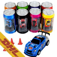 Wholesale Gifts Car Racing - 48pcs lot Mini RC Racing Car 1:64 Coke Zip-top Pop-top Can 4CH Radio Remote Control Vehicle 9803 LED Light 8 Colors Toys for Kids Xmas Gift