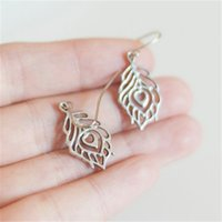 Wholesale feather ears - 10pairs Antique Silver Peacock Feather Earring Charm Ear Antique Silver