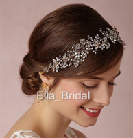 Wholesale Round Pearl Garland - Stunning Clear Crystal Pearl Bridal Headband Wedding Hair Accessory Ceremony Anniversary Evening Party Headpiece Garland Hairband Tie Backs