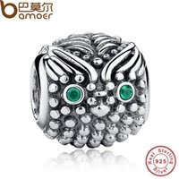Wholesale Cute Owls Make - Wholesale- Gift 925 Sterling Silver Gift Presents of Victory, Cute Wise Owl Dark Green Eye Charm Fit Bracelet Bangle Jewelry Making PAS029