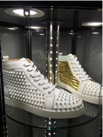 Wholesale Waterproof Casual Shoes For Men - Gold white Hi Top Studded Spikes Casual Flats Red Bottom Luxury Shoes For Men and Women Party Designer Sneakers Lovers Genuine Leather