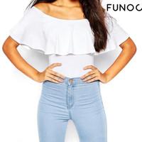 Wholesale Jumpsuits Shirts Bodysuit - SALE Women Skinny Bodysuit Sexy Off Shoulder Solid Color Ruffles Rompers Crop Tops Blusa Womens Bodycon Jumpsuit Shirts