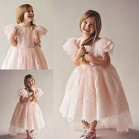 Wholesale Hi Low Feather Gown - Pink Juliet Sleeves Princess Girls Pageant Gowns Feather Lace Appliques High Low Flower Girl Dresses For Wedding Kids Birthday Party Dress