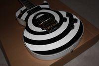 Wholesale White Guitar Black Hardware - Top Quality Custom Shop Zakk Wylde bullseye White Black EMG Pickup Electric Guitar Floyd Rose Tremolo Bridge Gold Hardware