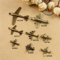 Wholesale Airplane Charms - The ancient bronze alloy aircraft charms, airplane transport ZAKKA DIY handmade jewelry accessories wholesale retro plane ornaments pendants